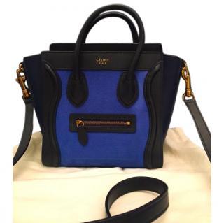 Celine Nano luggage tote Electric Blue Tricolor