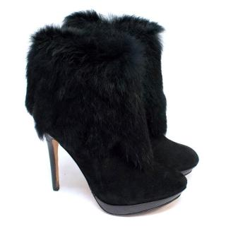 Lucy Choi Black Suede Ankle Boots with Rabbit Fur