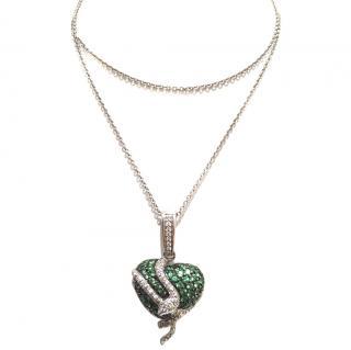 Diamond & Green Garnet 18k Gold Necklace
