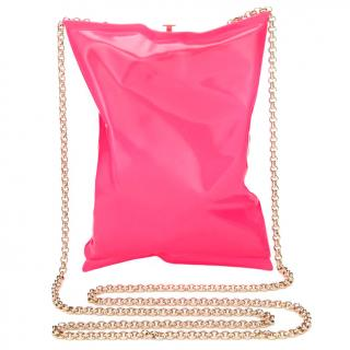 Anya Hindmarch Crisp Packet Clutch Brass in Neon Pink