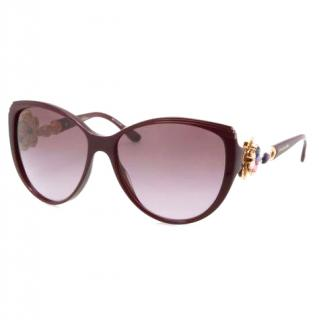 Bvlgari 8097-B Purple Rainbow Swarovski Flower Sunglasses