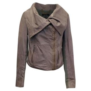 Muubaa Smoke Grey Leather Jacket