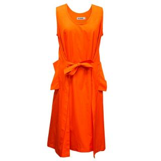 Jil Sander Orange Belted Cotton-Poplin Dress