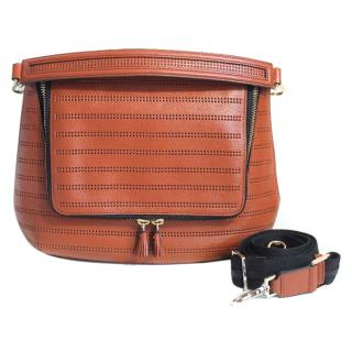 ANYA HINDMARCH Burnt Orange Perforated Maxi Zip Bag
