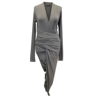 Donna Karan Grey Jersey Wrap Dress