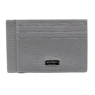Salvatore Ferragamo Grey Textured Leather Card Holder