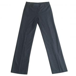 LORO PIANA  cashmere/silk blend dark grey straight leg trousers