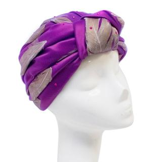 Awon Golding Purple Turban with Feathers & Net