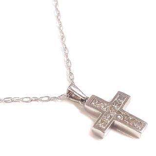 Princess Diamond Cross Pendant 18ct Gold