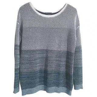 Vince 100% cotton white to teal woven knit jumper