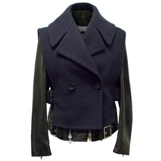 Philip Lim Leather and Wool Layered Jacket