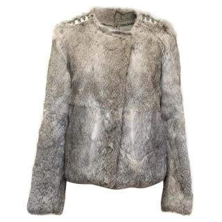 Iro Grey Rabbit Fur Jacket