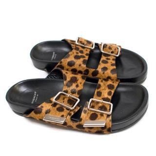 Givenchy Leopard Print Ponyhair Double Strap Sandals