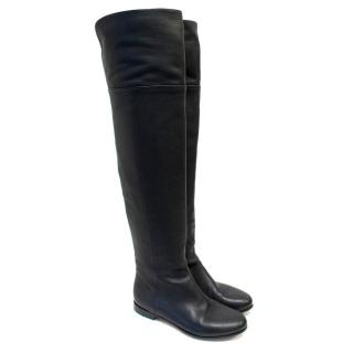 Jimmy Choo Black Leather Mitty Over The Knee Boots