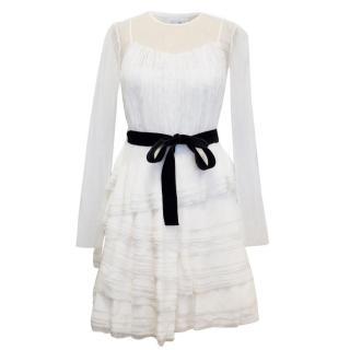 Alberta Ferretti Cream Ruffled Mini Dress