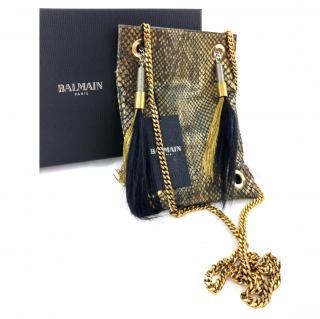 Balmain Ambre Python Messenger Bag