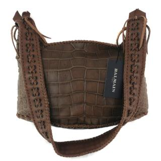 Balmain Brown Crocodile Shoulder Bag