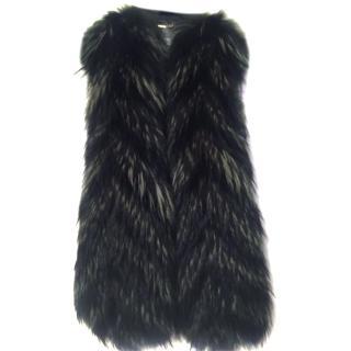 Versace black and green fur gilet