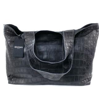 BalmainGrey Crocodile Tote Bag