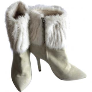 Casadei mink and crystal ankle boots