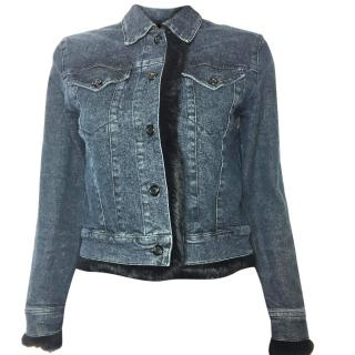 Sportmax blue denim jacket with black fur trim