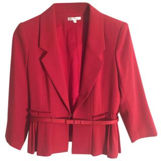 Paula Ka red tailored fitted jacket with pleated detail & leather belt