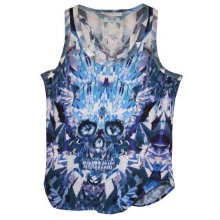 Rare Collector's Alexander McQueen Crystal Skeleton (blue) vest top It 40 Immaculate