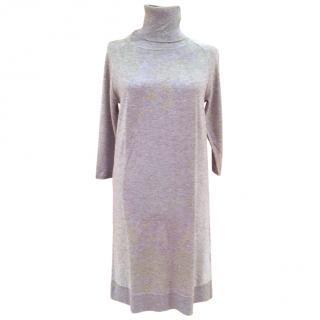 Max Mara roll neck silk dress , silk + cashmere- Size M