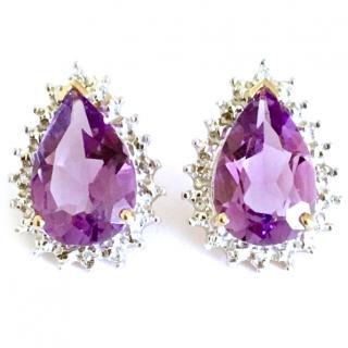 9ct Gold Teardrop Amethyst & Diamond Earrings
