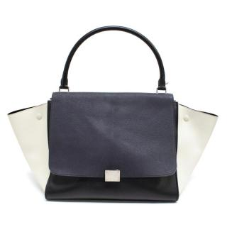 Celine Black, White And Navy Trapeze Bag