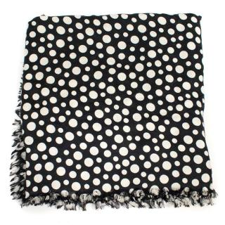 Louis Vuitton Yayoi Kusama Black and White Polka Dot Scarf
