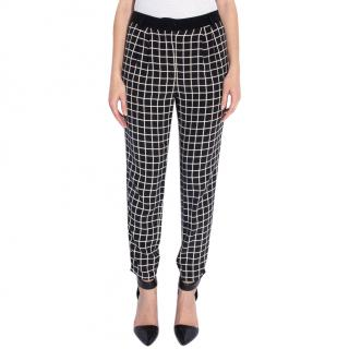 Tibi Silk Grid Pleated Pants