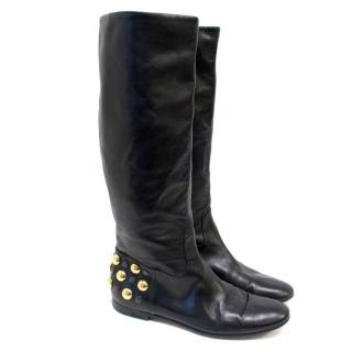 Gucci Black Boots With Gold Studs