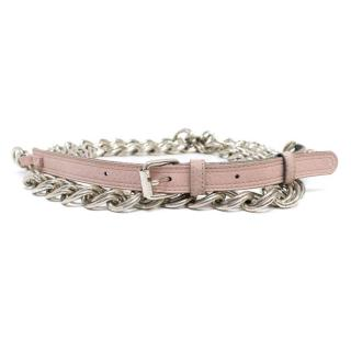Chloe Pink Leather and Silver Chain Belt
