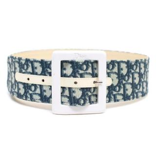 Christian Dior Monogram Belt With White Buckle