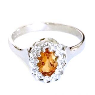 9ct White Gold Citrine & Diamond Ring