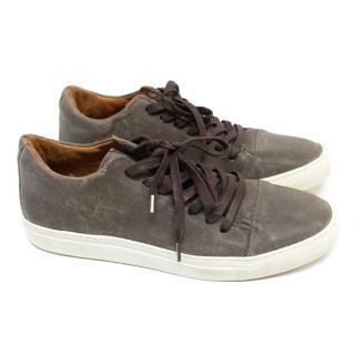 John Varvatos Low Top Brown Leather Sneakers