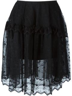 Simone Rocha Black Mesh Layered Skirt