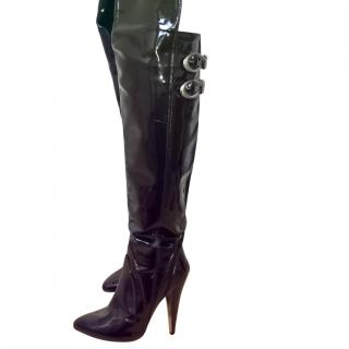 Versace Patent Over the Knee Boots