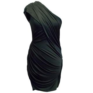 Alexander Wang Black Asymmetric Fitted Mini Dress