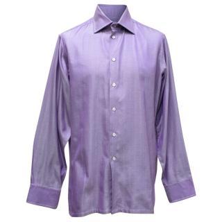 Richard James Purple Striped Twill Shirt
