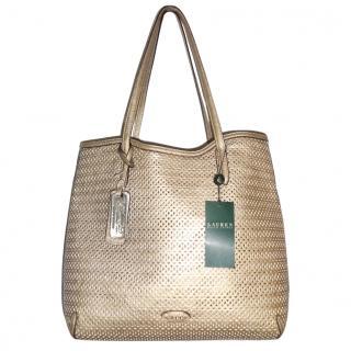 Lauren Ralph Lauren Gold Tote Hand Bag