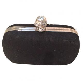 Alexander McQueen embroidered lace skull clutch bag