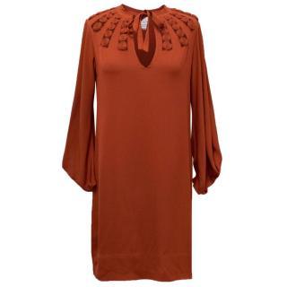 Diane Von Furstenberg Dark Red Silk Dress