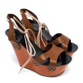 Chloe Tan Wedge Sandals