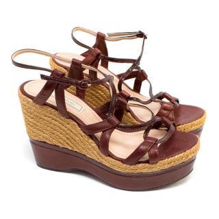 Nina Ricci Burgundy Espadrille Wedge Sandals