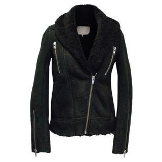 IRO Black Shearling Biker Jacket