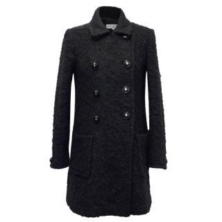 Paul & Joe Black Double Breasted Mohair Coat
