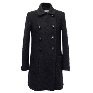Paul & Joe Black Double Breasted Mohair Coat