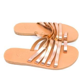 Ancient Greek Metallic Rose Gold Sandals
